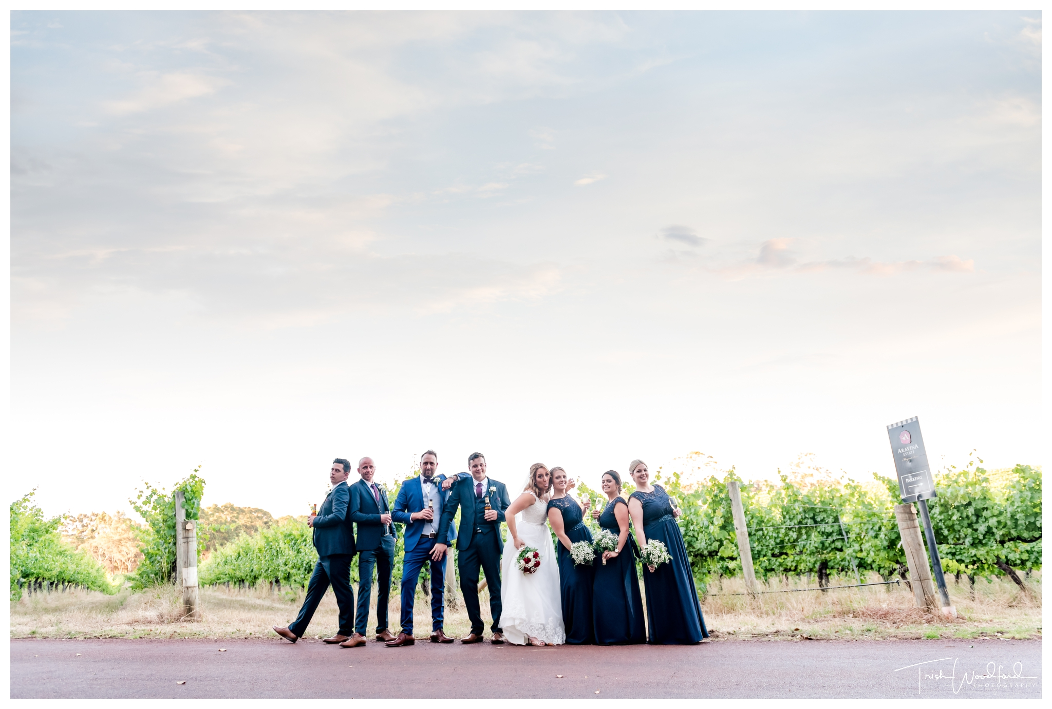 Bridal Party Aravina Estate Vineyard Wedding