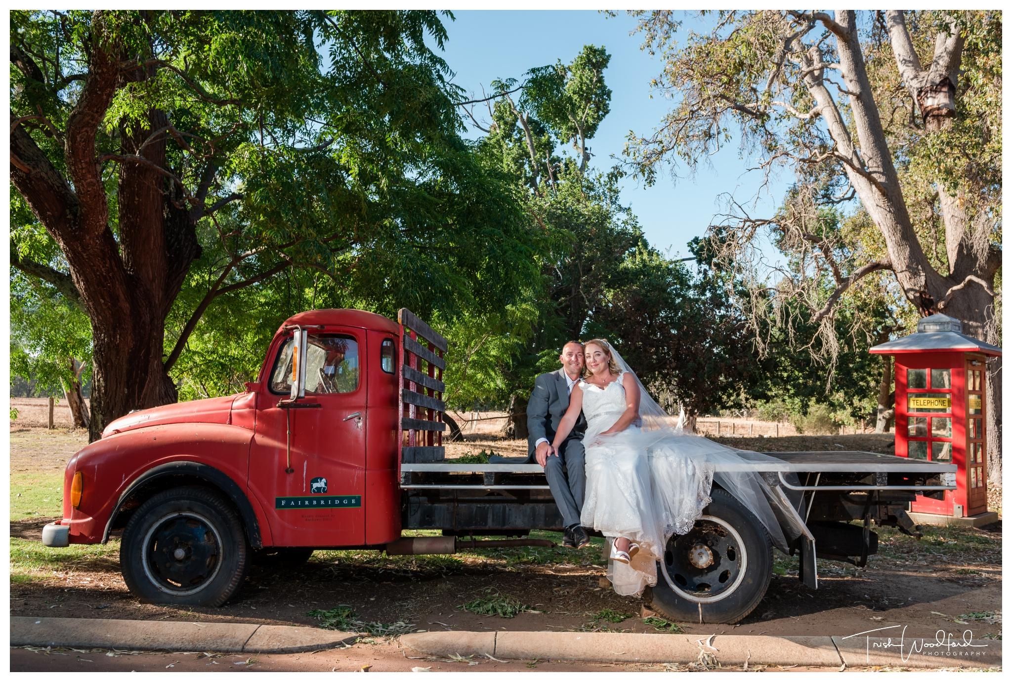 Bride and Groom Red Ute Fairbridge