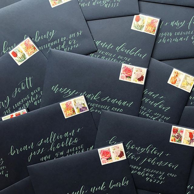 Navy envelopes + ash green gouache. Perfect for a succulent inspired invite.