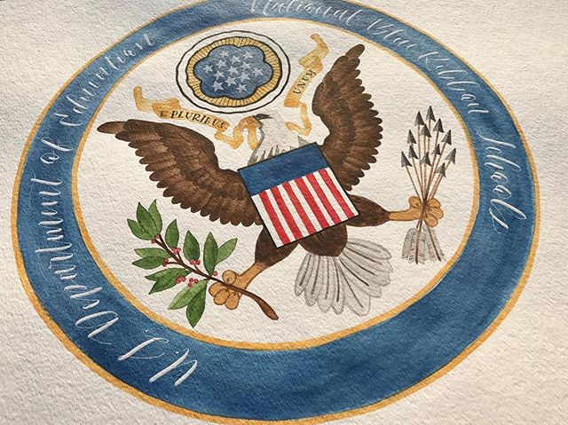 Watercolor rendition of the National Blue Ribbon Schools emblem for a local San Diego school leader! Thank you La Jolla Elementary for the wonderful opportunity!