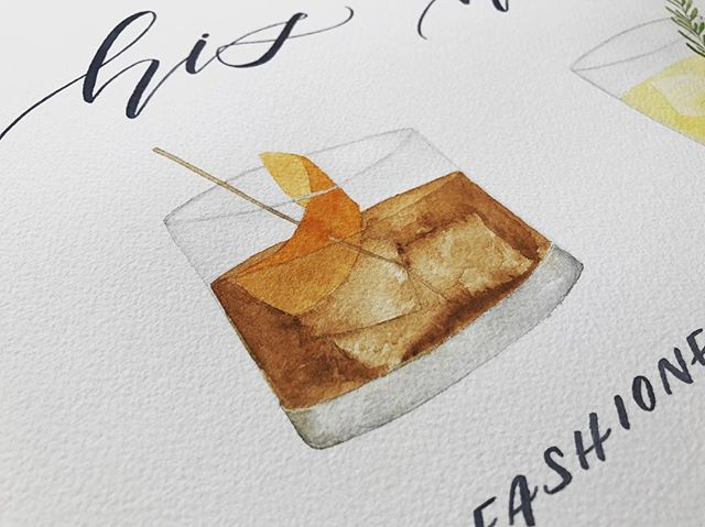 Sneak peek of a custom signature cocktail watercolor sign. #oldfashioned #signaturecocktails