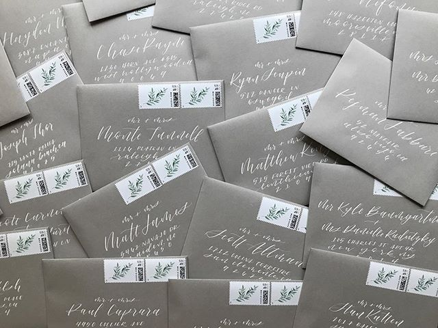Grey envelopes + white ink. Such a classic combination. #moderncalligraphy #weddingenvelopes #handwritten #wedding