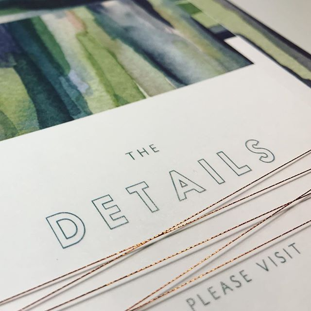 Loving the copper string we used to tie this custom watercolor wedding  invitation suite together. It adds the perfect touch with all the greens 💚#weddinginvitations #invitations #watercolor