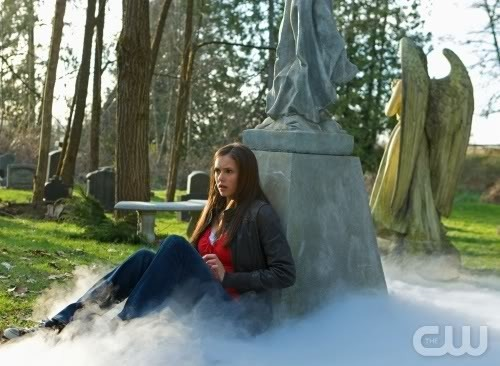 Elena, at the cemetary, writing in her diary about the death of her parents :(