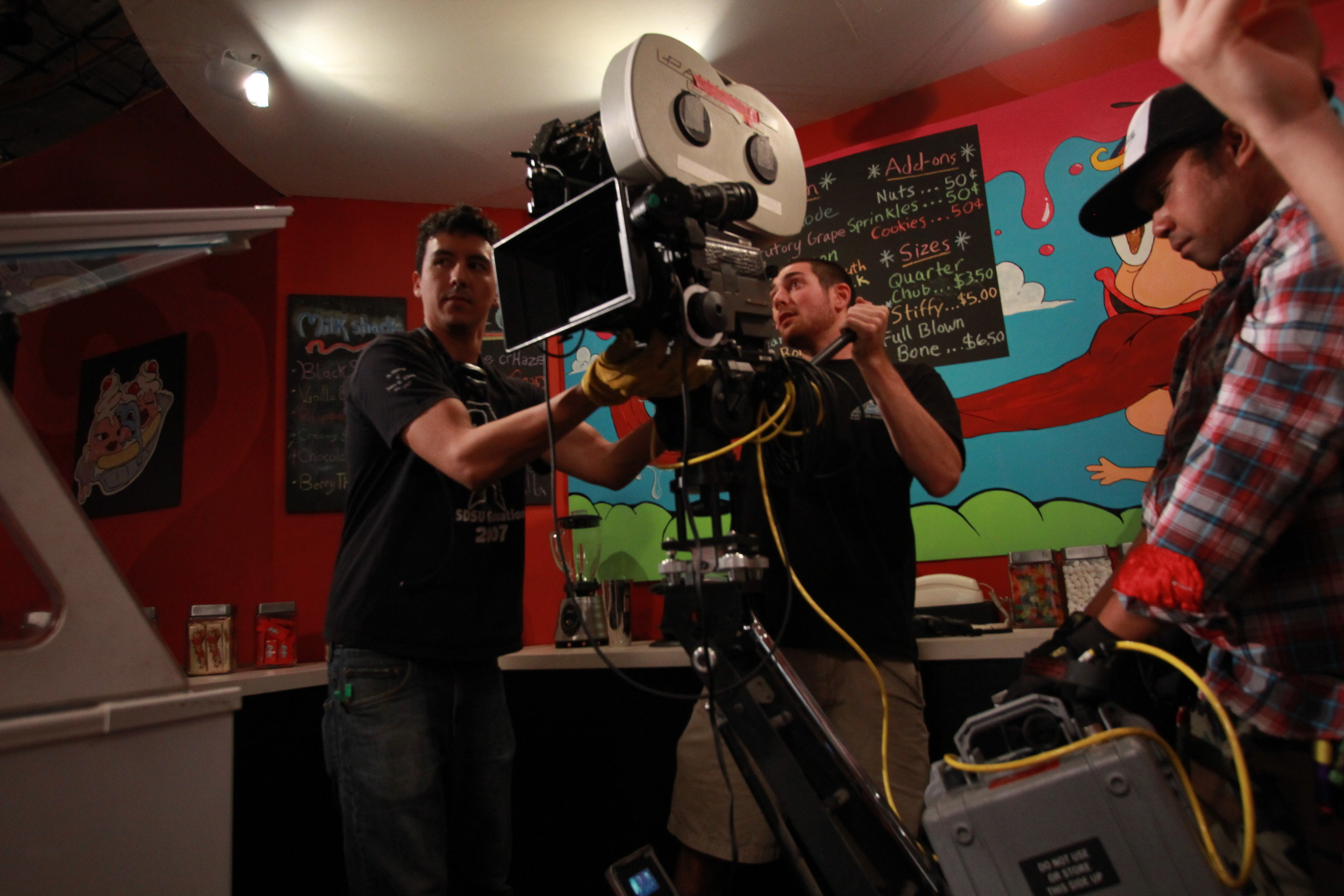 "Lining up a shot with the Panavision for ""Coldbone Creamery"""