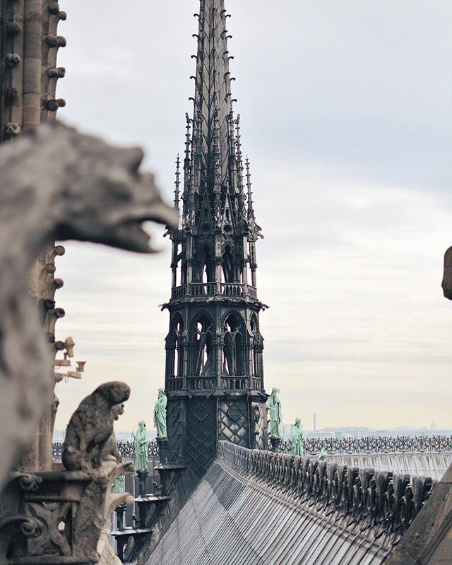 Last time I was in Paris I climbed the towers and took this photo of the 19th century spire and the 12th century lead roof that fell today. The bells rang and I could feel them in my chest. Human history and art is infused in all areas of my career and today was a physically painful day watching her burn and fearing the whole cathedral would be gone. We thought these places would last forever. But thankfully it was mostly the roof. A beautiful roof built of wood from the 1100s, but it can be built again. The rest, the inside, the walls, in pretty good shape. And so while there is so much sadness, I feel so much hope. Because it's been a long time since we've called for stone carvers and stain glass artisans to complete a cathedral (thought hopefully the windows are ok). Historic art skills are needed again. And just as it took hundreds of people to build this church the first time, thousands if not millions of people will be part of restoring her now. We focus on how divided or unsettling the world and politics are today. But I think global heritage and almost losing a piece of it today will be a beautiful opportunity to unite and to bring people together. Total catastrophe was not what we saw today, instead global love, resilience, and connection to a place that is spiritual for some, awesome to others, and recognized as a precious feat of human achievement for human kind. I feel deep reverence for places like this, and hope for what will come from this. • • • • • #instaparis #pariscartepostale #parisphoto #TopParisPhoto #archilovers #cestmonparis  #parisisalwaysagoodidea #iloveparis #paris #parisian #parisienne #parisphoto #pariscartepostale #igersparis #vscoparis #parisjetaime  @paris_maville #france #frenchlife #seemyparis #everygirltravels #notredamecathedral #resilience #lookup #hopealways #cometogether #iledelacite