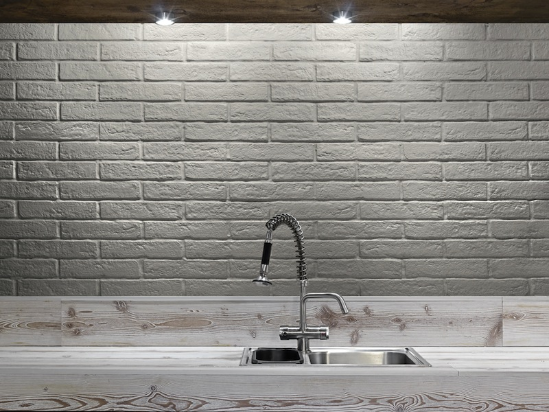 Want a chic industrial look in your kitchen without the maintenance of using actual bricks? These white brick tiles are the perfect solution! They are also available in matt black.