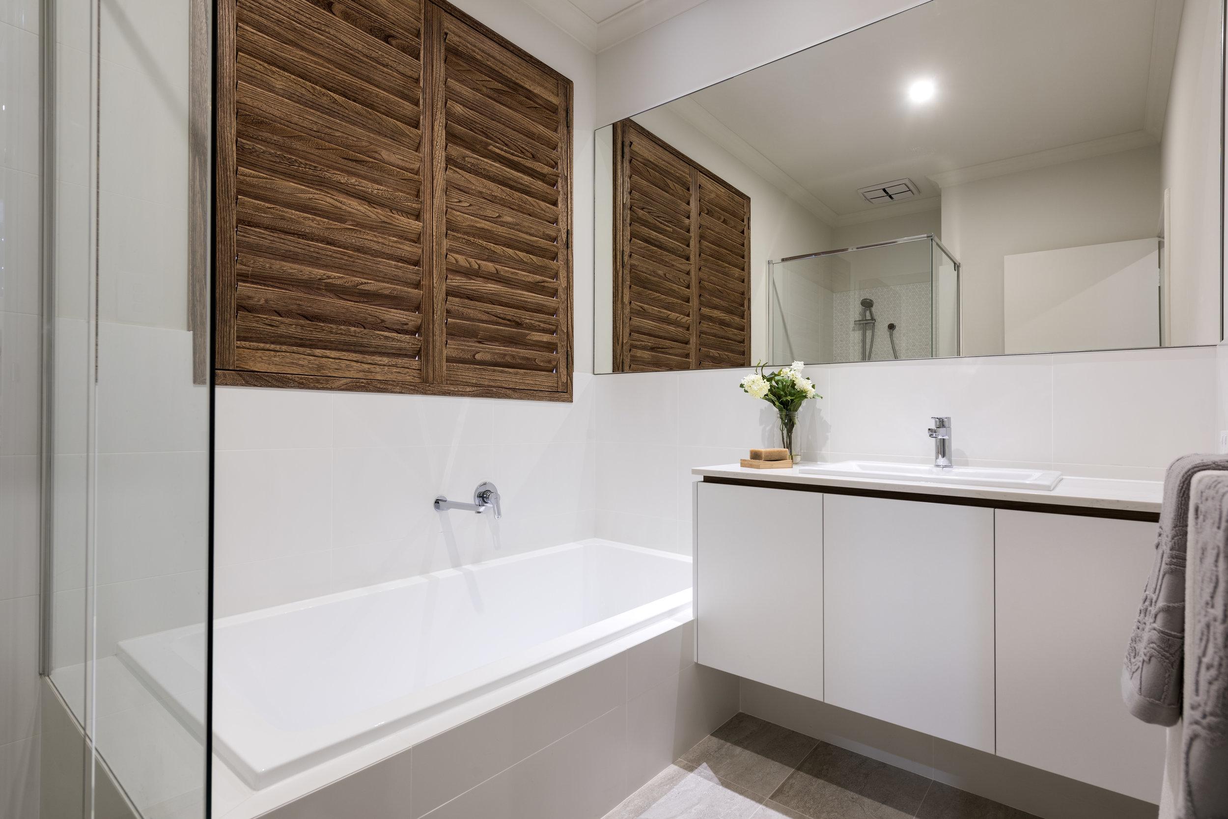 Timber Look Bathroom Shutters