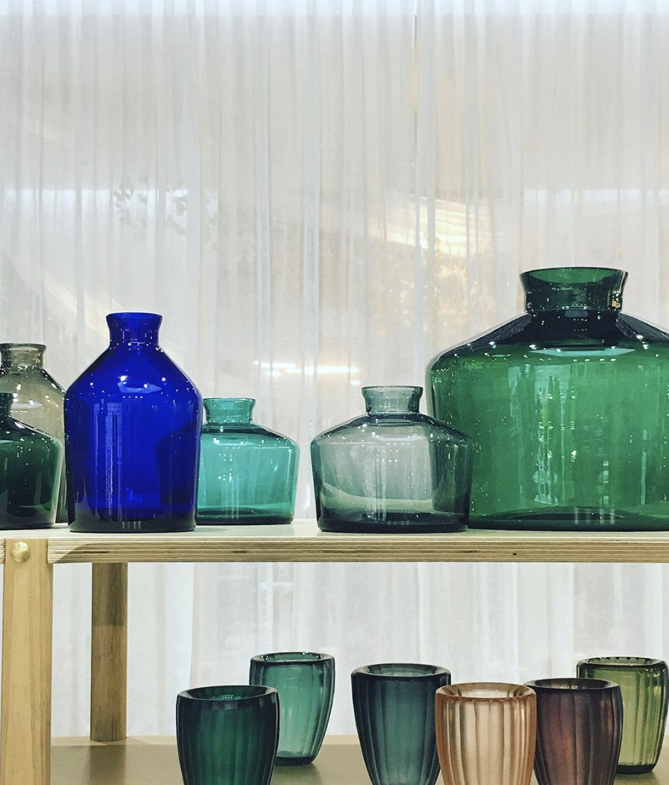 Gorgeous coloured glass from  Bison Home