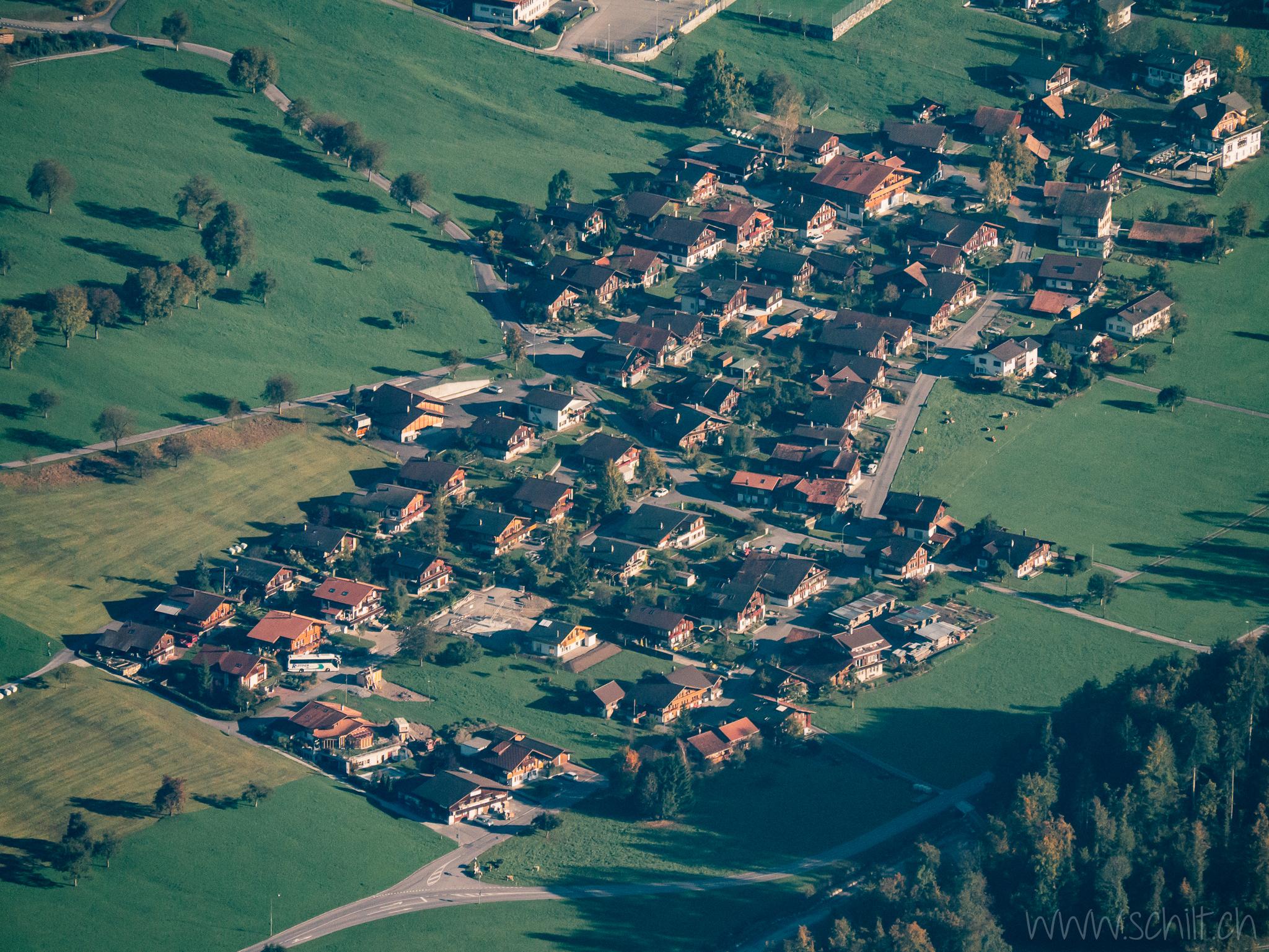 Blick auf Hofstetten/Allmend (wo ich aufgewachsen bin)