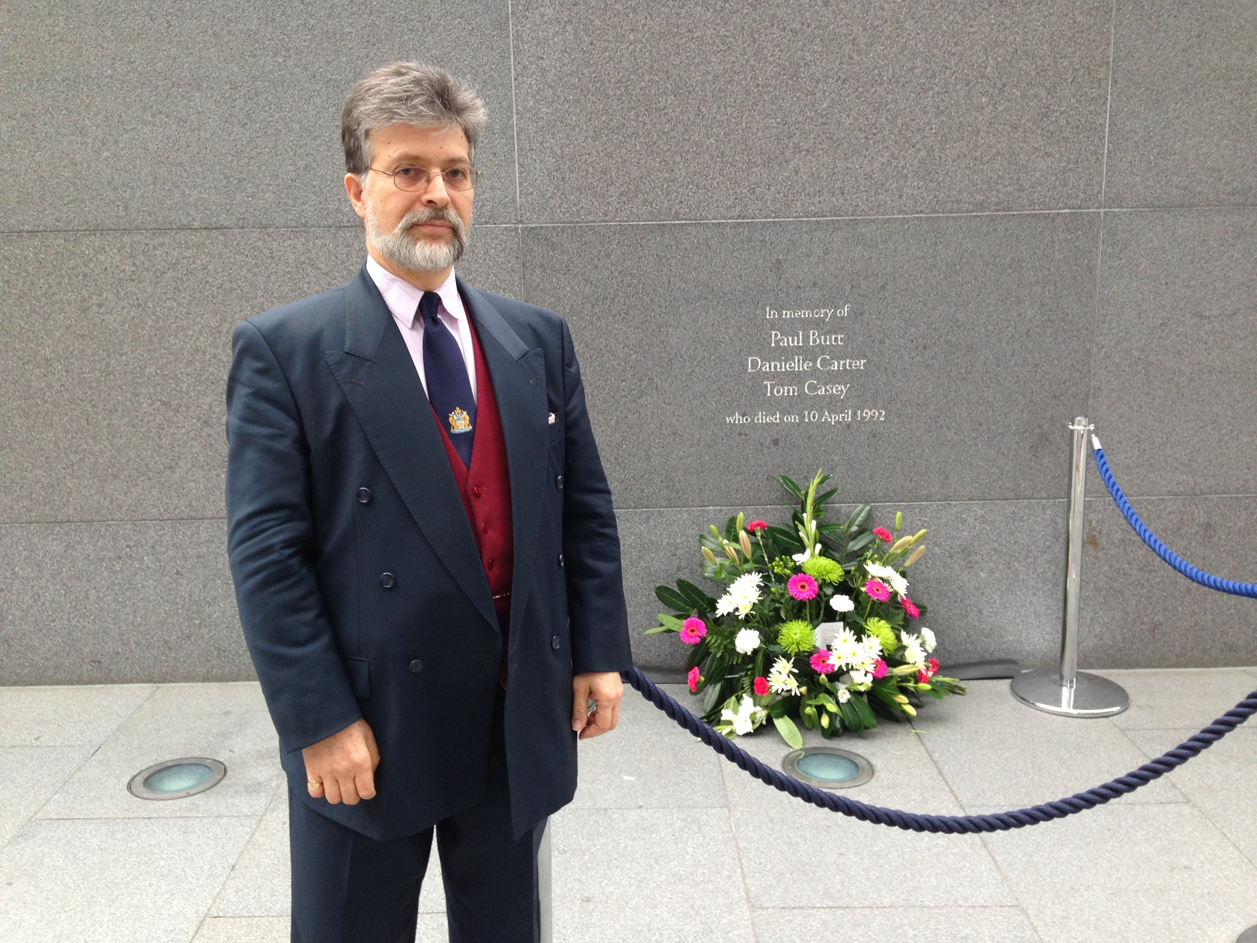 Jeffrey Blum beside the memorial on the Gherkin plaza