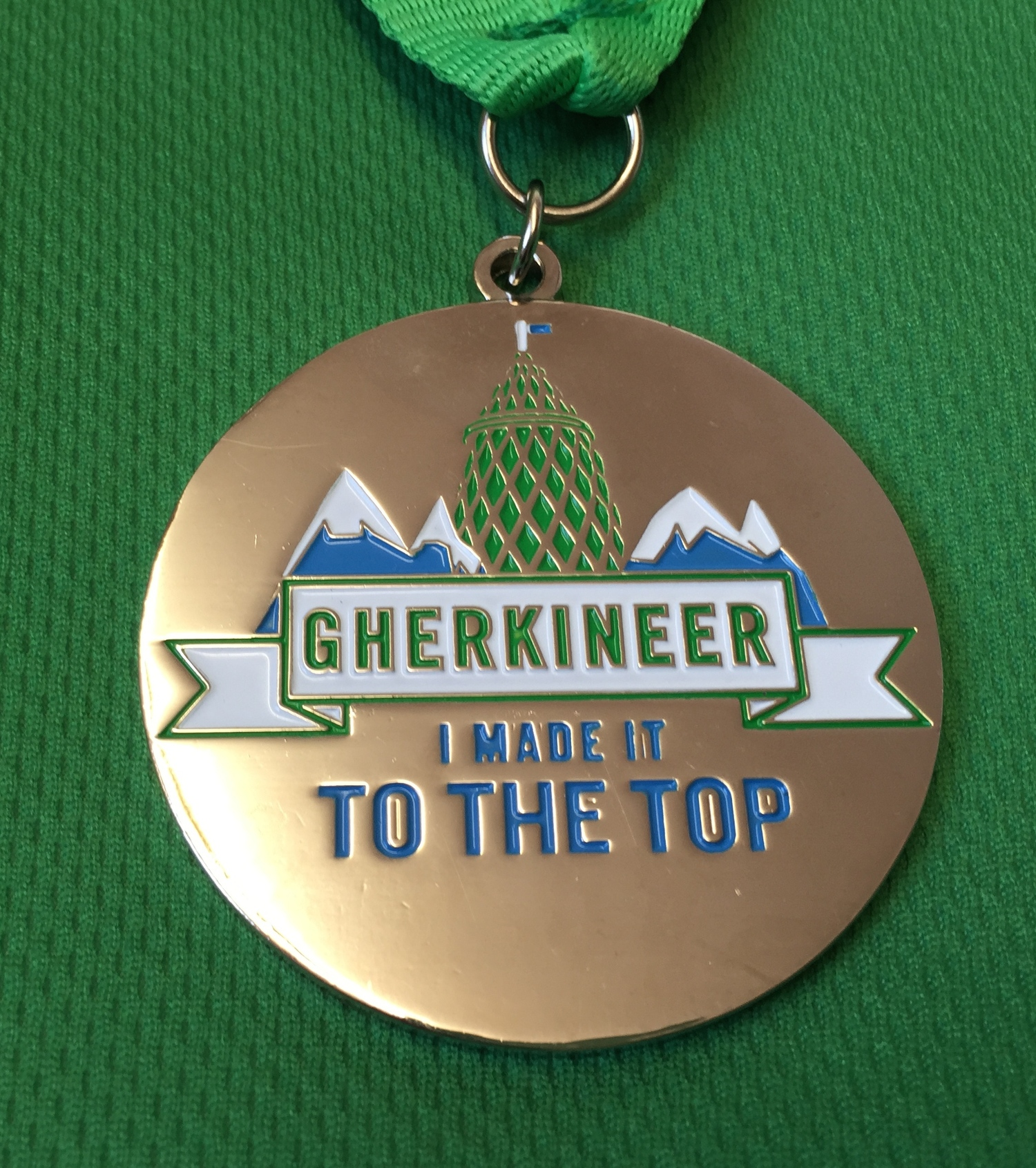 The Gherkin Challenge Medal, awarded to everyone who reached the top.