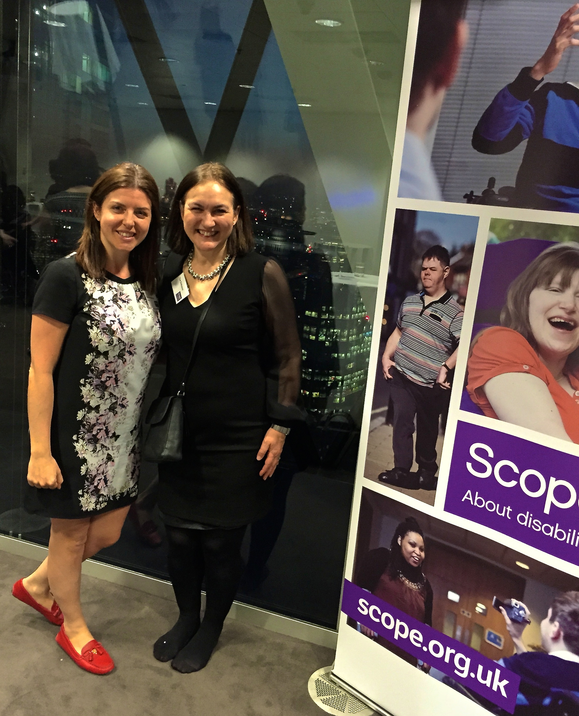 At the end of the evening Debbie Hastings (Head of Trusts and Government Funding for Scope) and I have both given up on our high shoes!