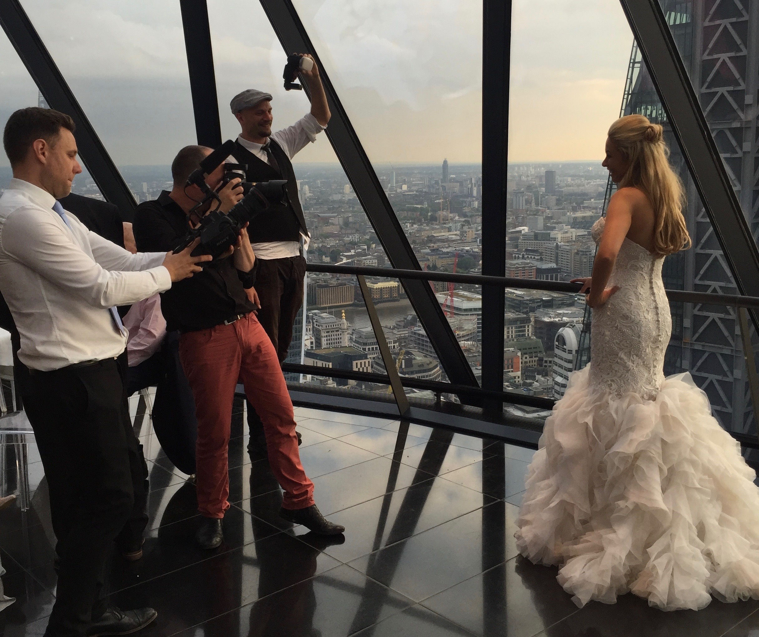 Photographer Christian Trampenau and his team capture the happy day. #GherkinWedding #BeautifulBride