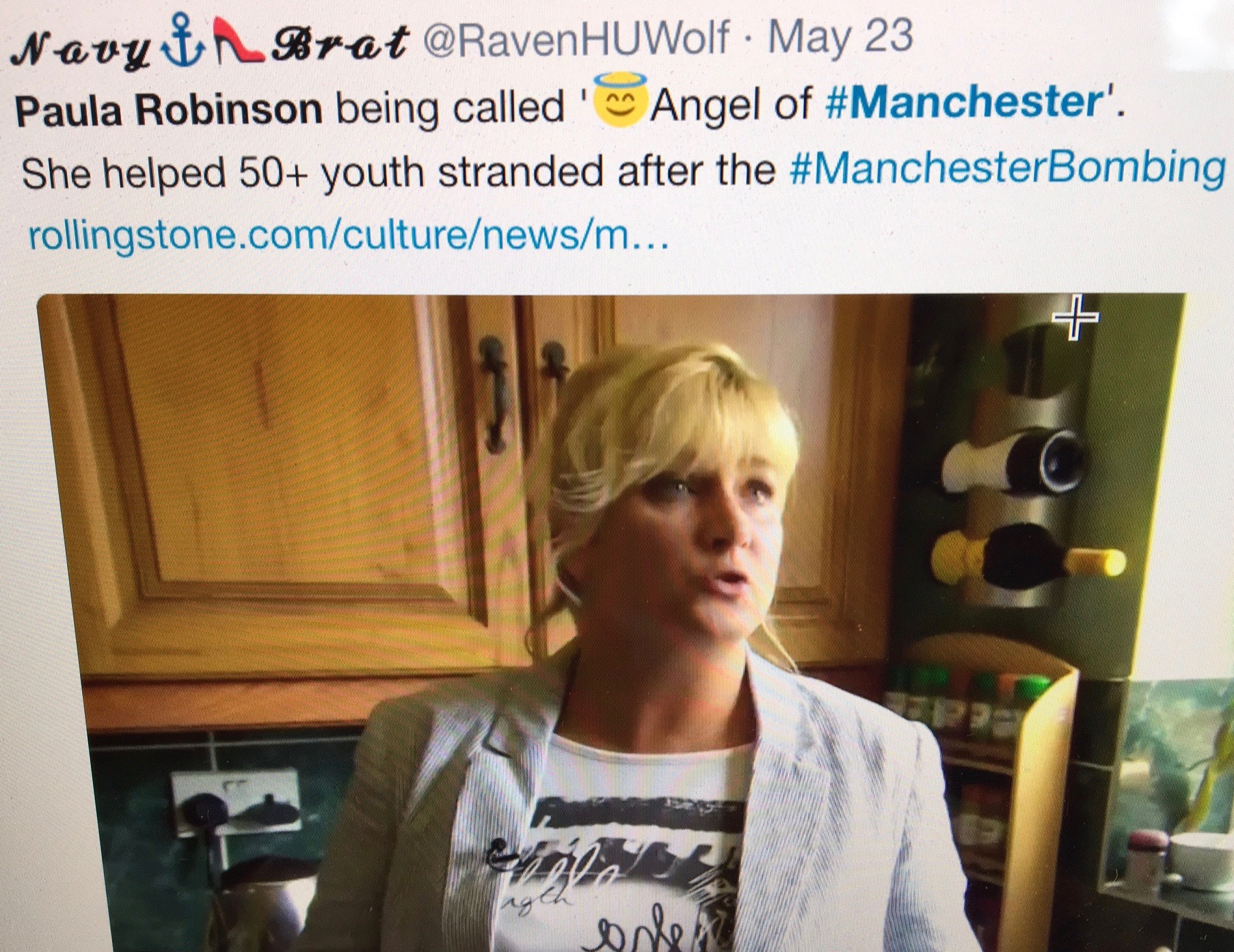 Paula Robinson was one of the many people who's instant response was kindness. Moments after the blast she gathered around 50 scared teenagers and took them to Manchester Piccadilly's Premier Inn to keep them safe. She used social media to alert their frantic parents.