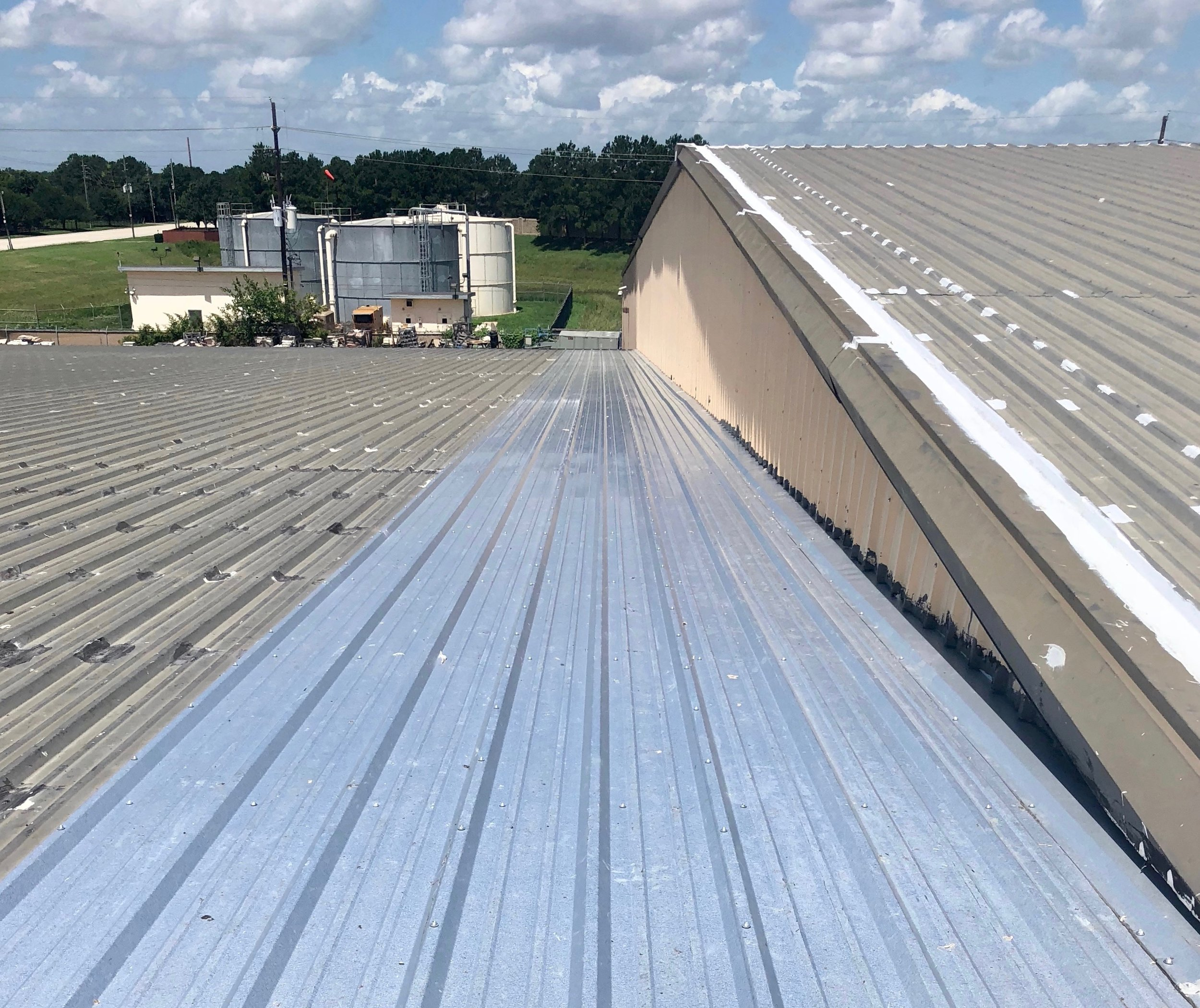 Above: After this metal roof cut and paste was complete the leaks stopped.