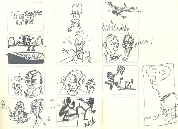 A scan from pocket note book, I was trying to figure out some acting and staging choices.