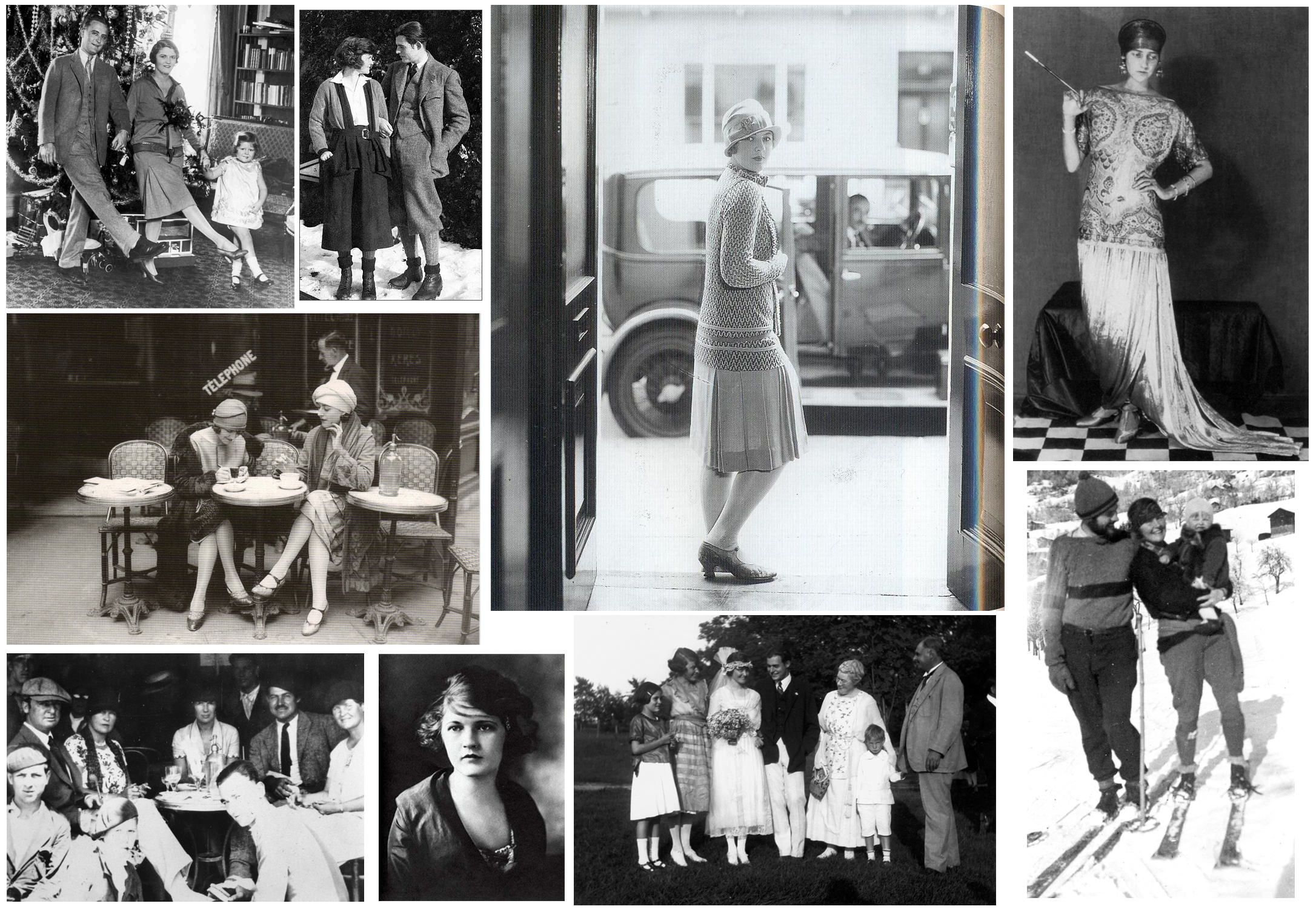 """From the top left going clockwise - Scott, Zelda and their daughter Scottie Fitzgerald. Hadley and Ernest Hemingway. Anonymous Flapper. Anonymous Model posing for Fashion Magazine. Ernest and Hadley skiing with their son Jack """"Bumby"""" Hemingway. The Hemingway Family at the wedding of Ernest and Hadley. Zelda Fitzgerald. The last two are pictures of Parisian Cafes in the 1920s, the people are unidentifiable."""