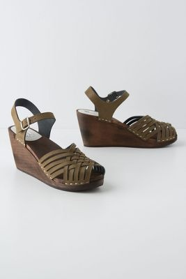 Olive Green and Dark Wood Sandals from  Anthropologie .