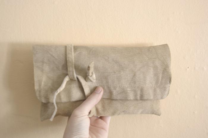 Khaki Suede Wrap Clutch - NestingDoll.
