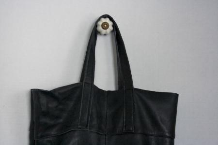 Black Leather Tote - Close Up - NestingDoll.