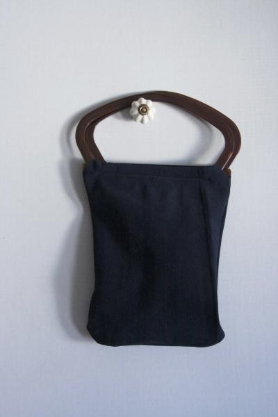 Navy Suede Bag -- NestingDoll.