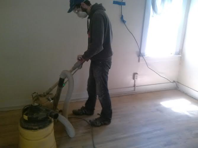 Alex and I split up the sanding, it was actually kind of fun.