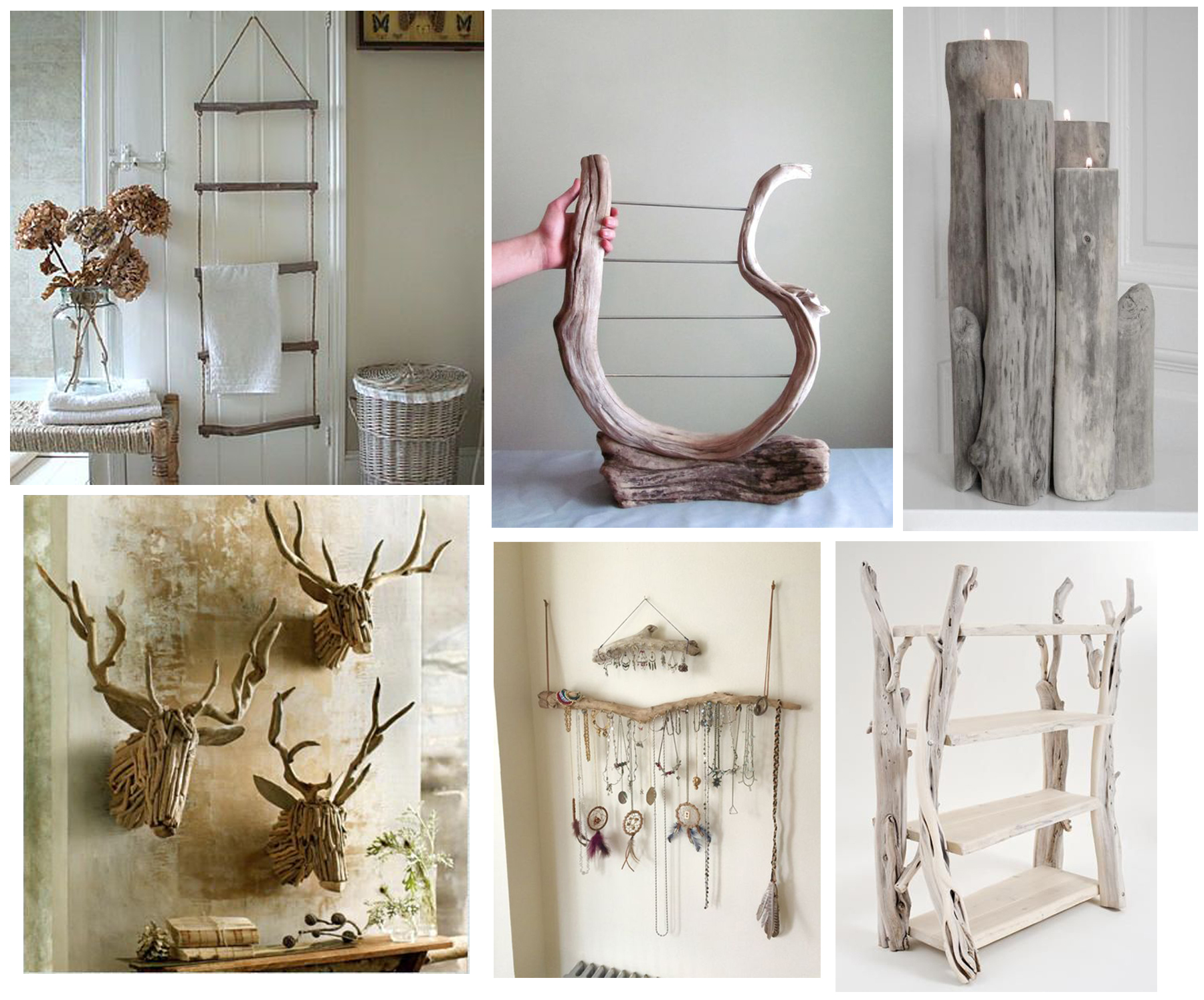 Find all of these goodies starting from top left and moving clockwise - Driftwood Ladder ,  Earring Holder ,  Candle Holder ,   Book Shelf ,  ,  a similar Driftwood  Deer Head