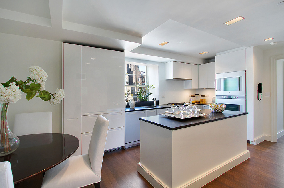classic, compact black and white kitchen