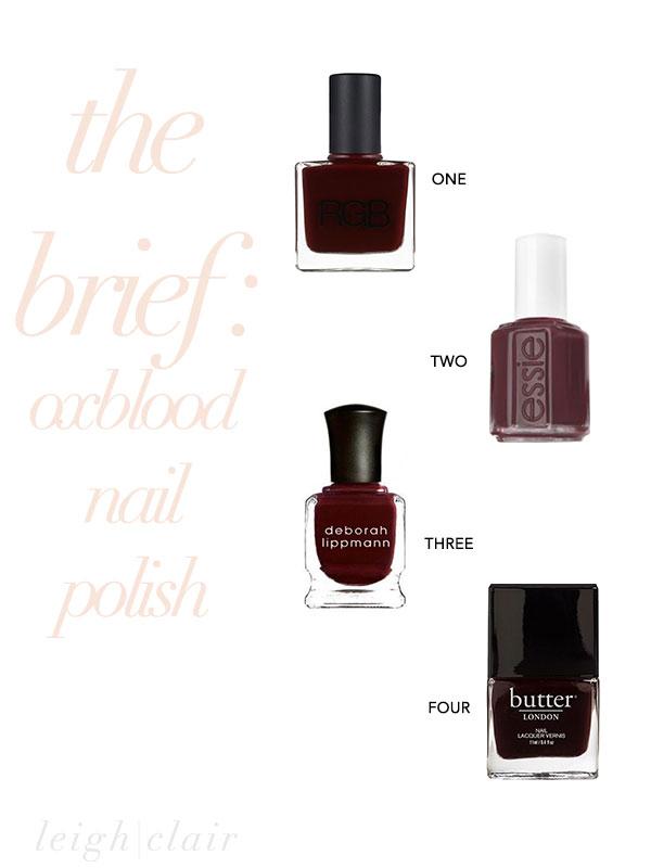 the brief : four fab oxblood nail polish choices
