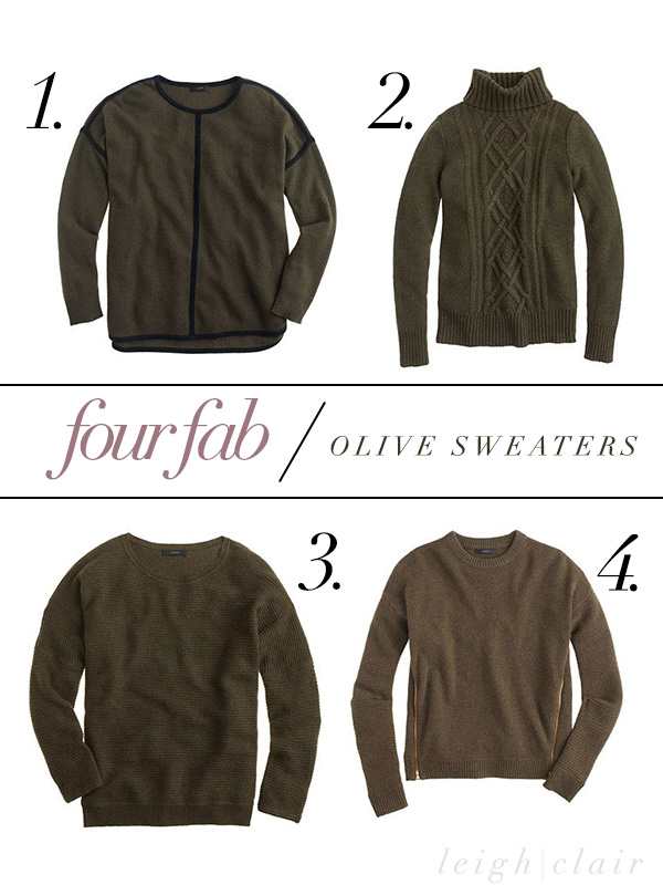 four fab / olive sweaters