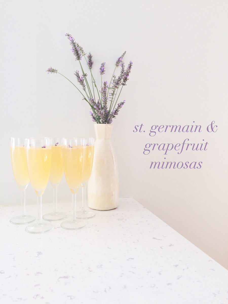 St. Germain & grapefruit mimosa recipe. Perfect for your next brunch! - Leigh Clair