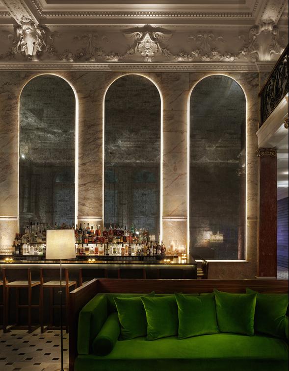 Lobby Bar at The London Edition Hotel. Emerald green sofa.