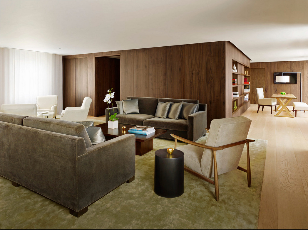 Penthouse style. Mid-century furniture, open plan living.