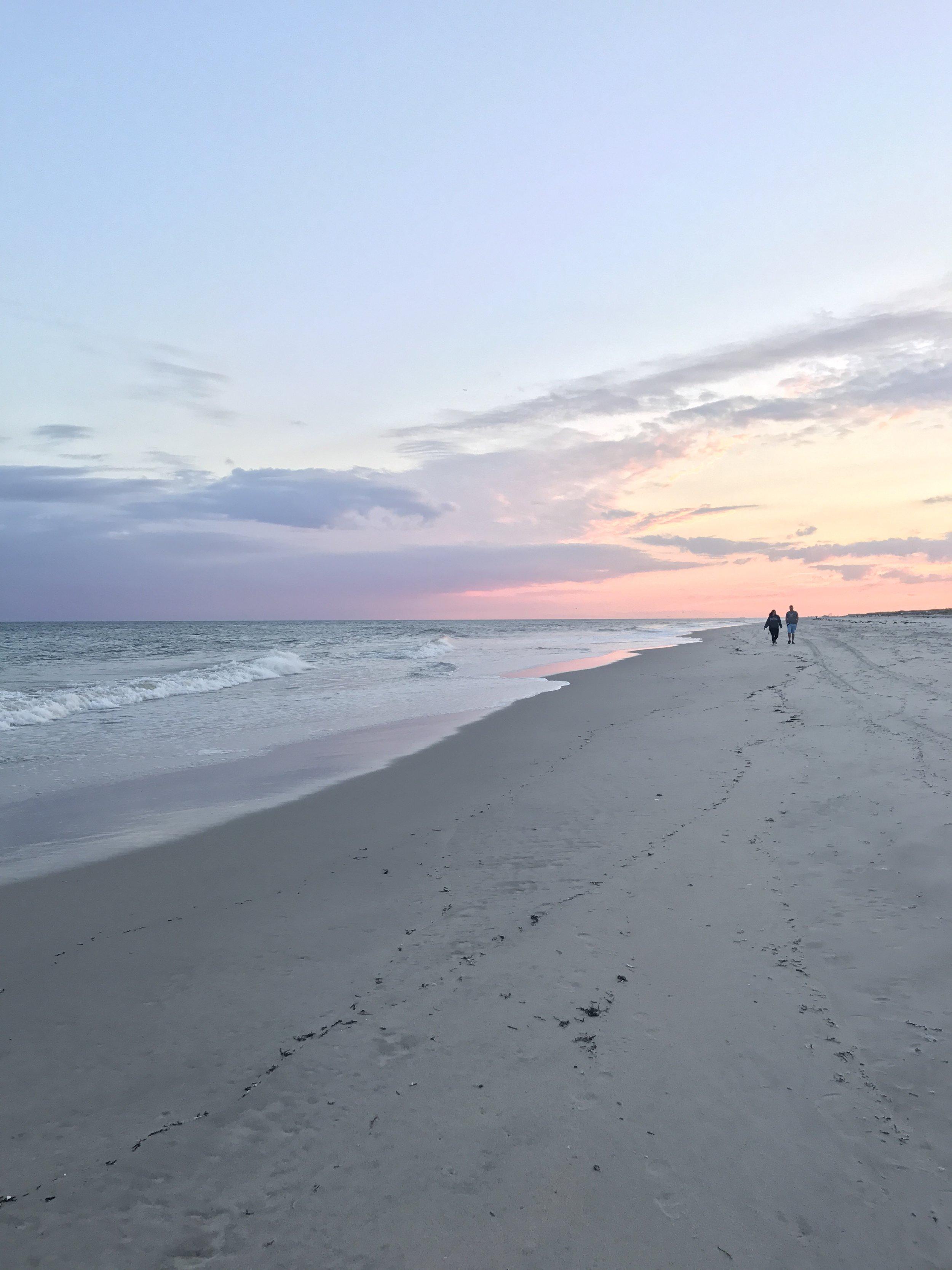 Sunset walk on Fire Island, NY.