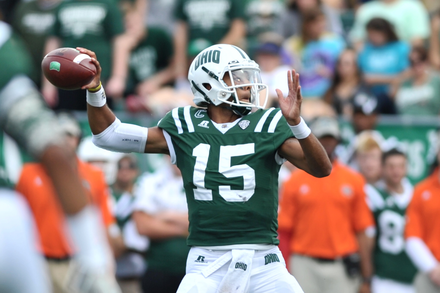 Ohio Bobcats quarterback Derrius Vick looks to pass the ball during the Bobcats' game against Southeastern Louisiana University on September 19, 2015, at Peden Stadium in Athens, Ohio.