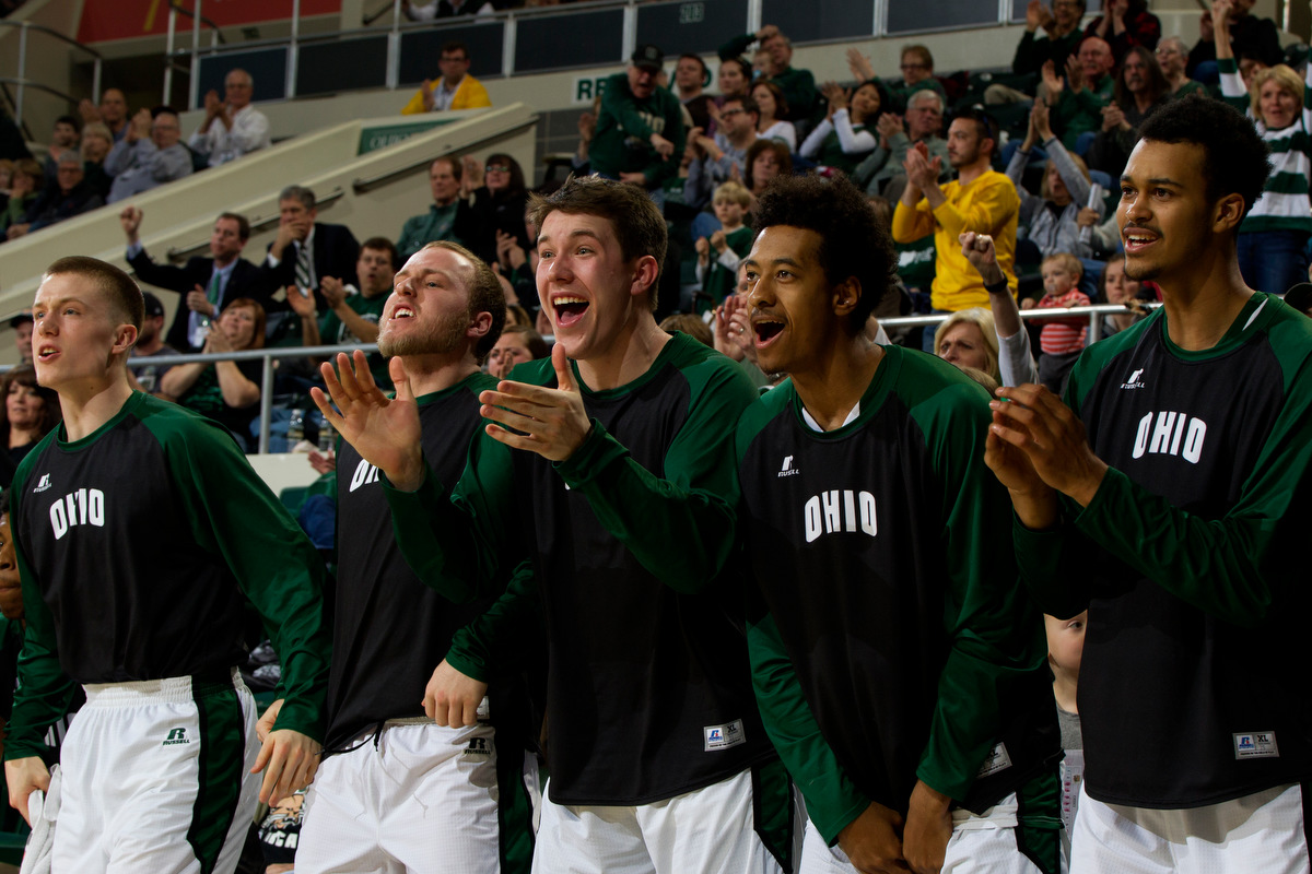"Ohio Bobcats players react to points scored during the game. The Ohio Bobcats bench was featured on ESPN earlier this month as giving competition to ESPN's current ""best bench in basketball,"" the Monmouth Hawks."