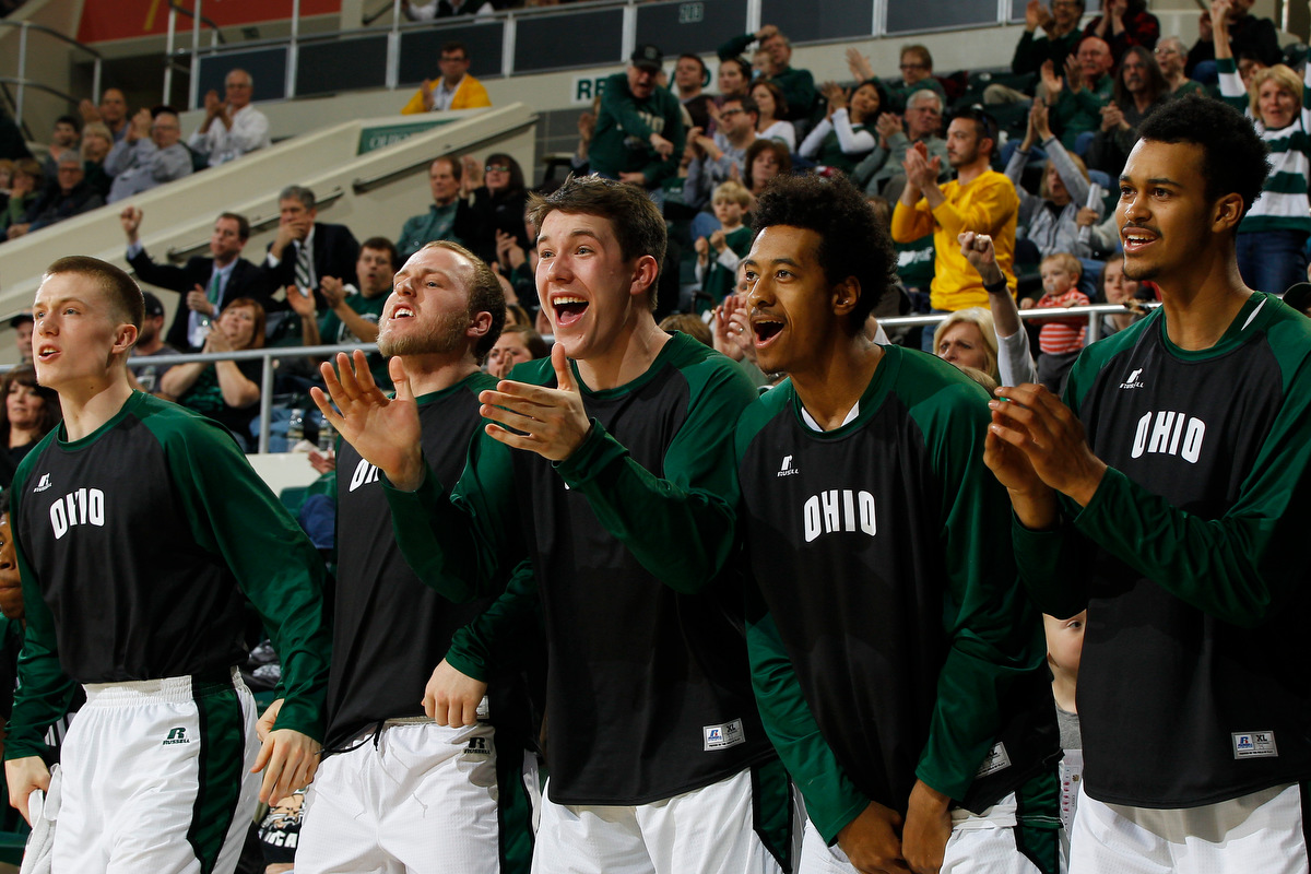 """Ohio Bobcats players react to points scored during the game. The Ohio Bobcats bench was featured on ESPN earlier this month as giving competition to ESPN's current """"best bench in basketball,"""" the Monmouth Hawks. ©2016 Sarah Stier 