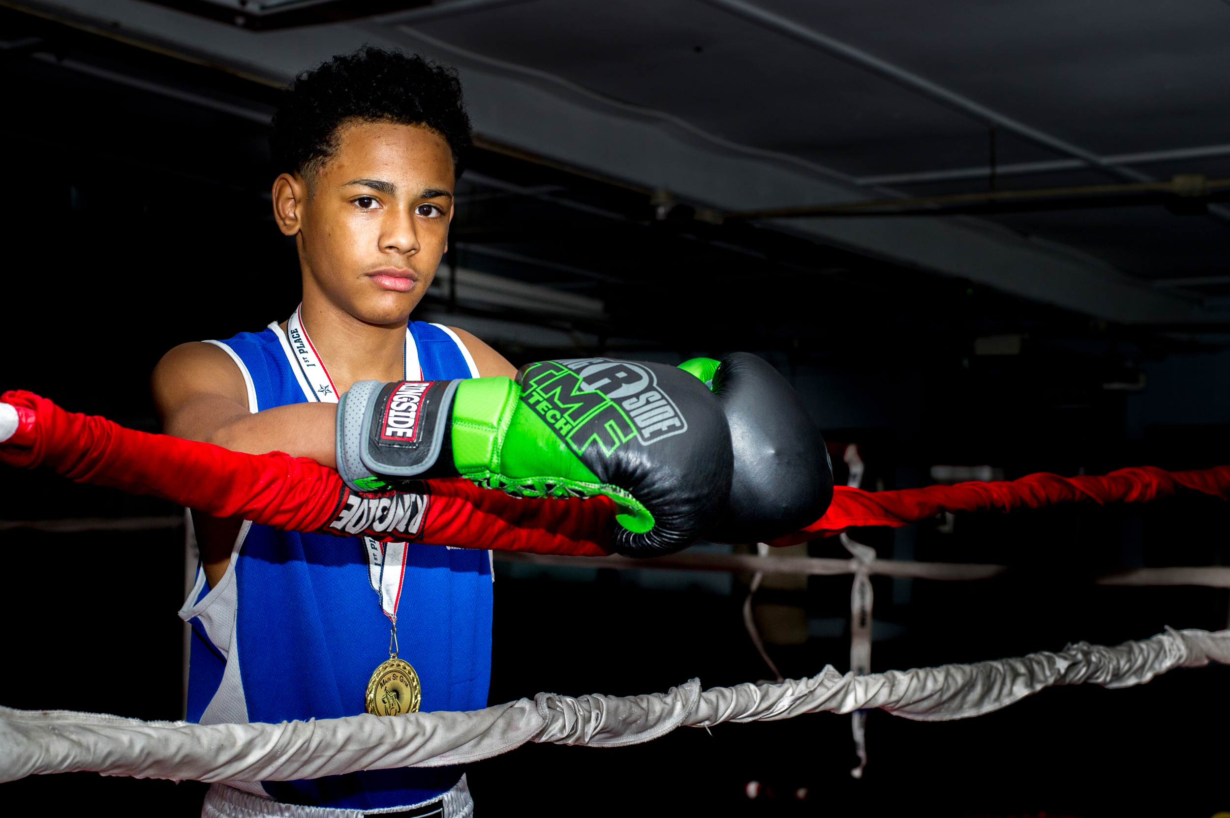 Luis LaBoy poses for a portrait at East Reading Boxing Club on May 18, 2016, in Reading, Pennsylvania. LaBoy has only been boxing for two years but has already won a regional title.