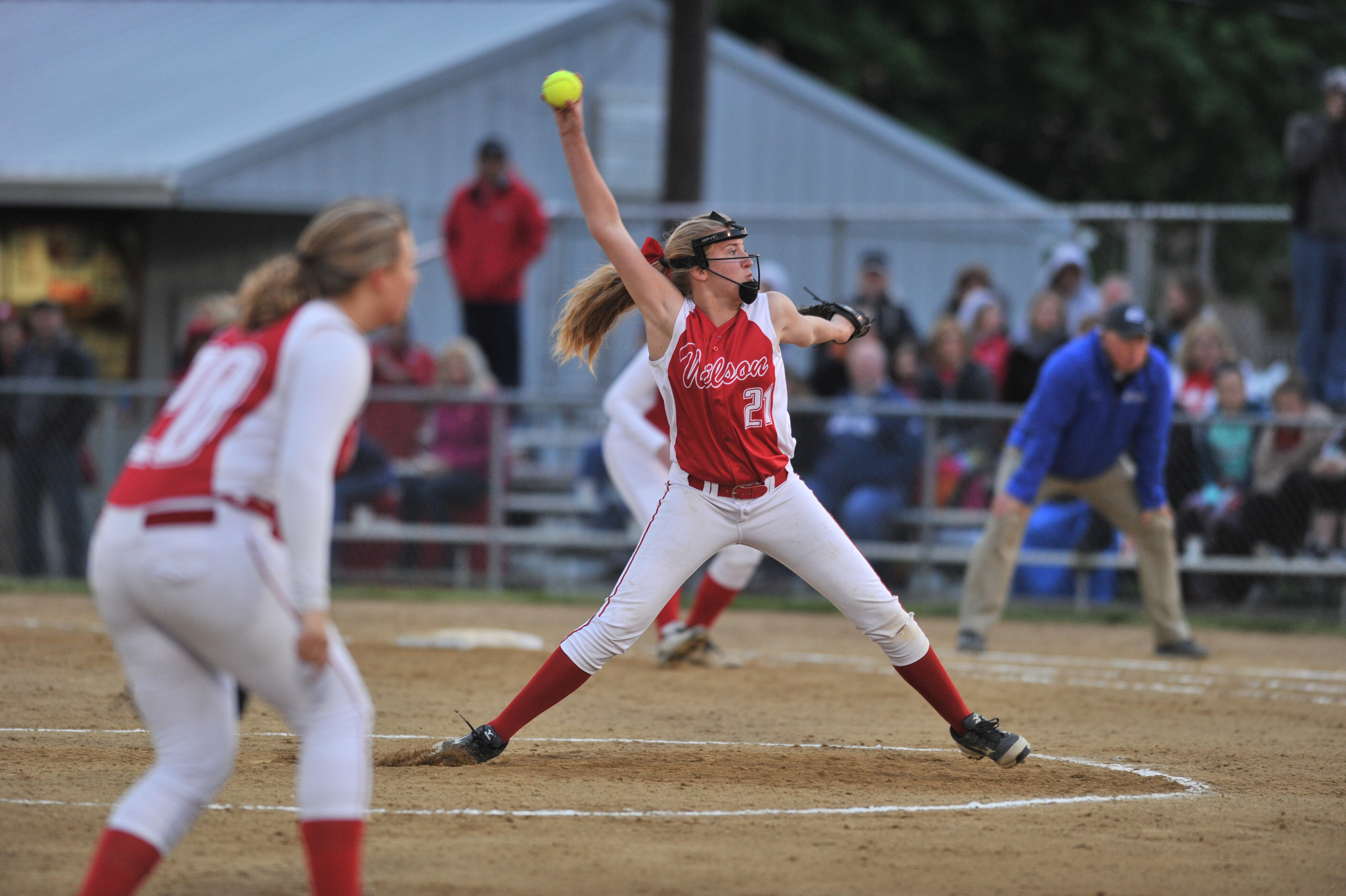 Wilson High School's Emily Love pitches the ball at the semi-final game against Exeter on May 17, 2016, at Lyons Ballfield.