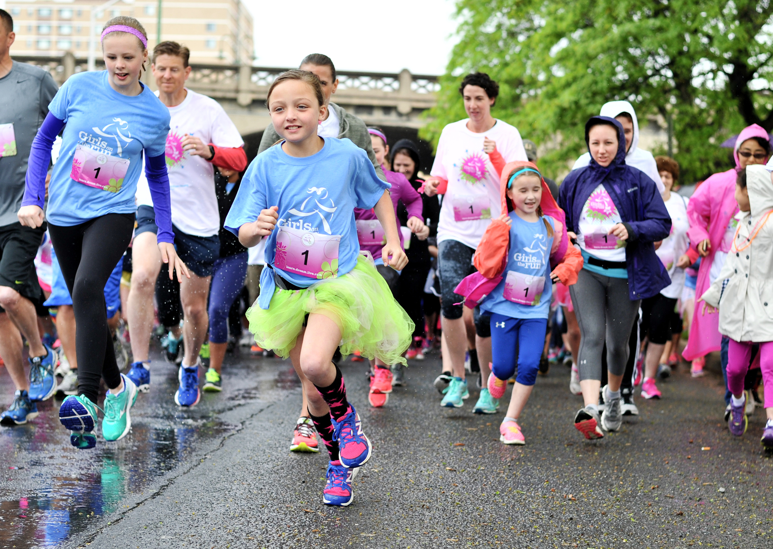 Catherine Harentz, 11, takes off during the start of the Girls on the Run race at Reading Area Community College on May 22, 2016. Harentz would go on to finish first. (Reading Eagle: Sarah Stier)