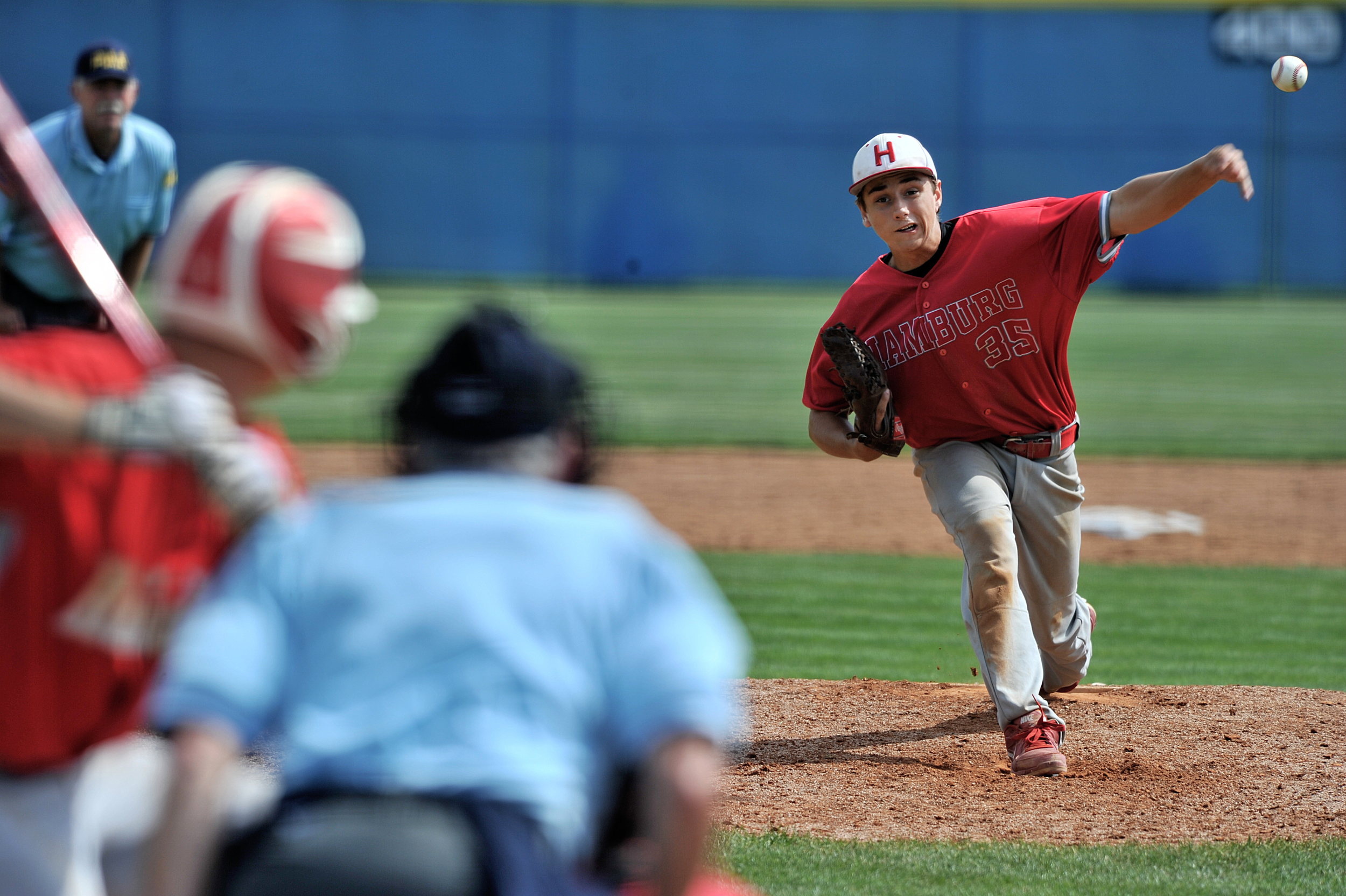 Hamburg's Janson Youndt pitches at the game against Bellefonte in the PIAA playoffs in Chambersburg, PA, on June 13, 2016. (Sarah Stier: Reading Eagle)