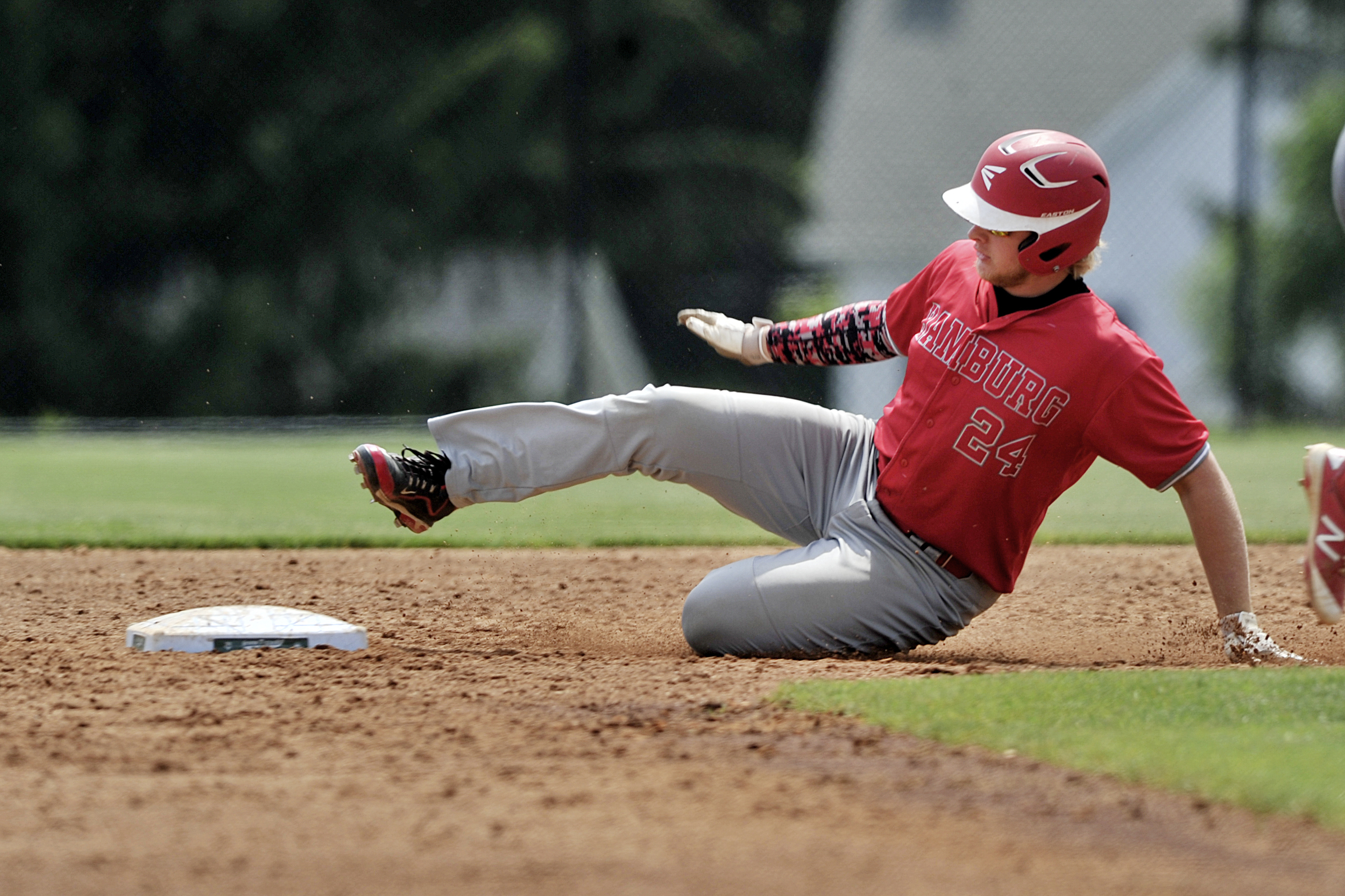 Hamburg's Derek Roberts slides into second base at the game against Bellefonte in the PIAA playoffs in Chambersburg, PA, on June 13, 2016. (Sarah Stier: Reading Eagle)