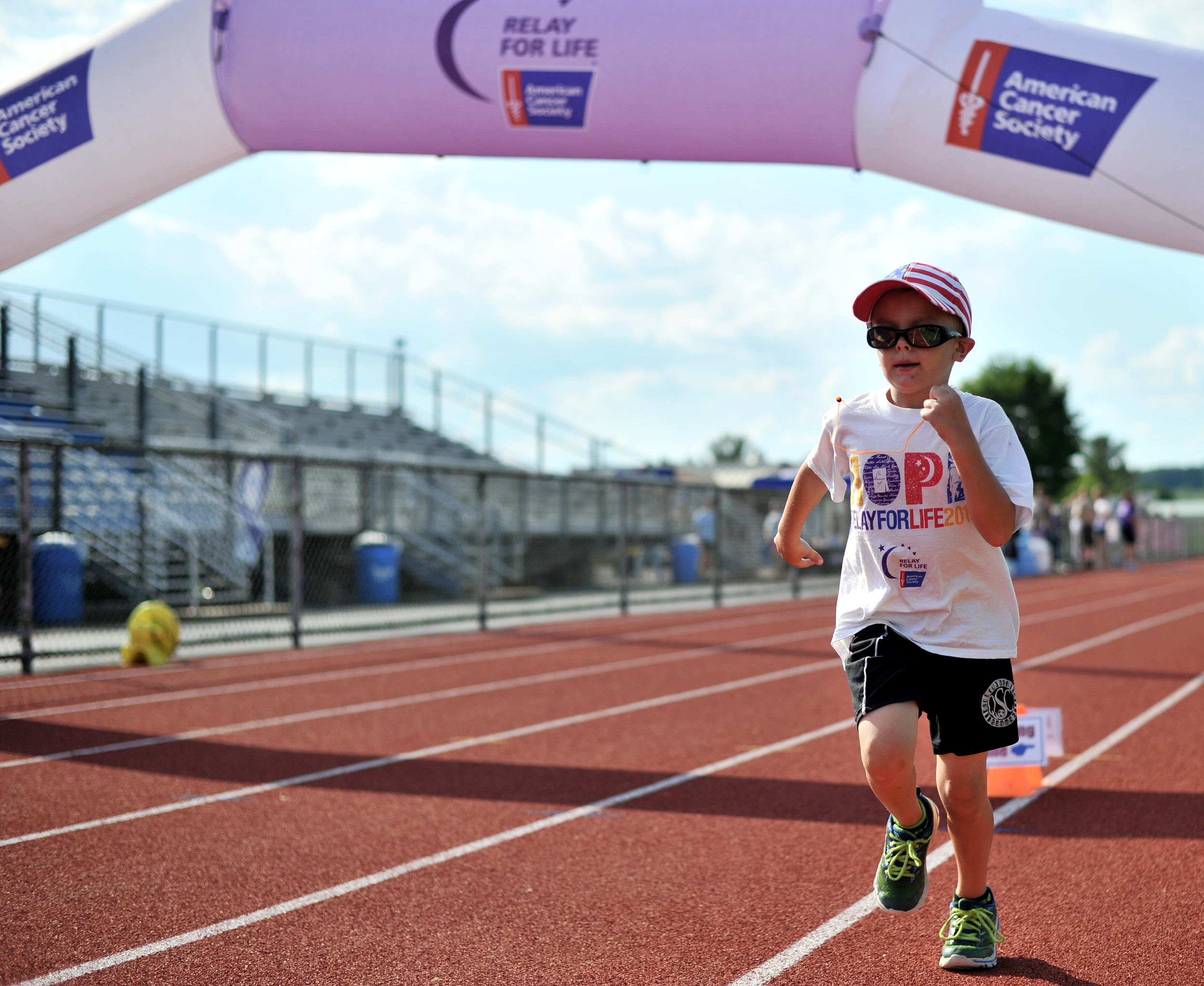 Daniel Williams, 6, of Trumbauersville participates in the 2016 Relay for Life held in Denver, PA, on June 16, 2016. (Sarah Stier: Reading Eagle)