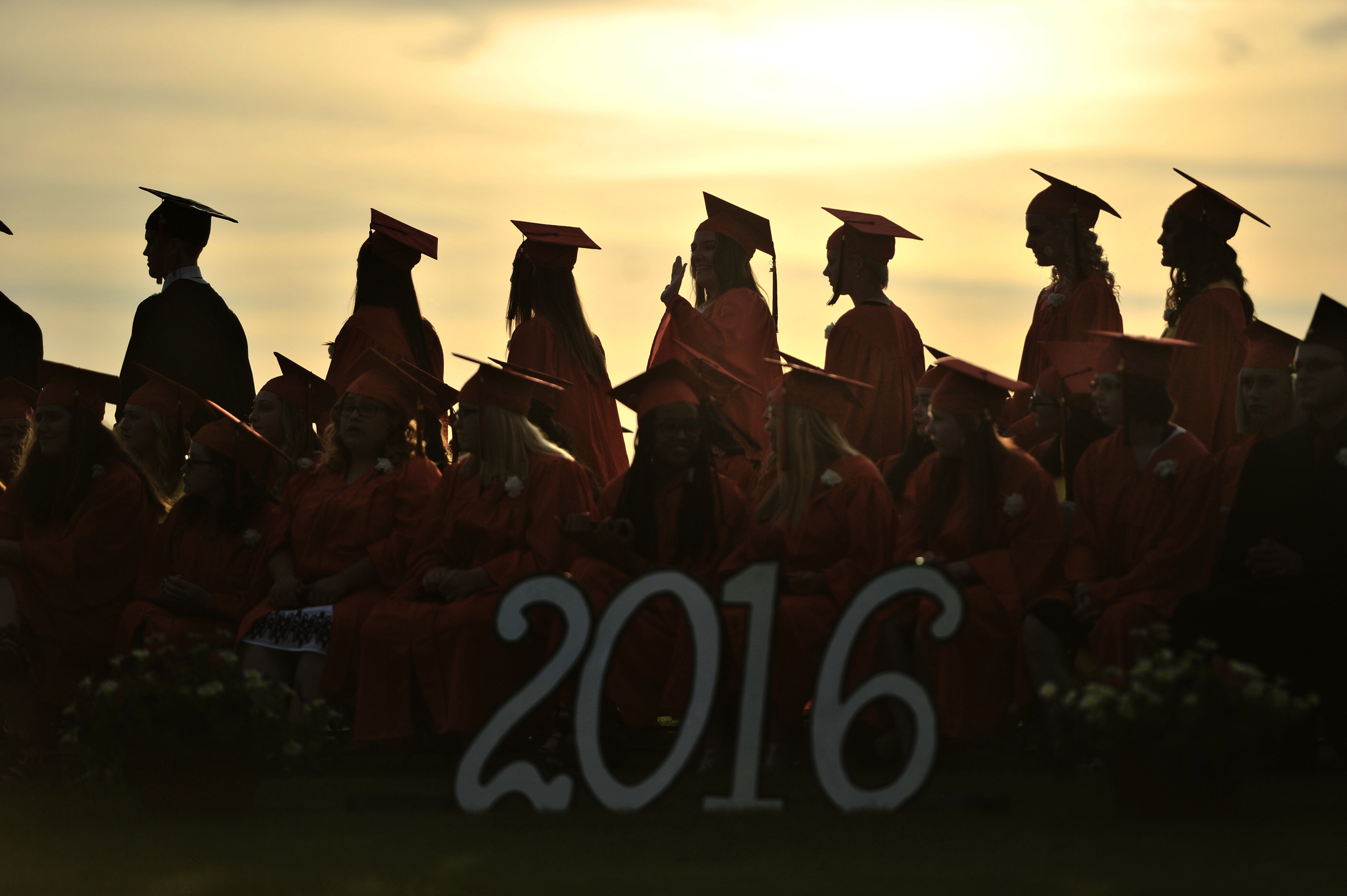 Graduates line up to receive their diplomas at the commencement ceremony for Schuylkill Valley High School in Reading, PA, on June 10, 2016. (Sarah Stier: Reading Eagle)