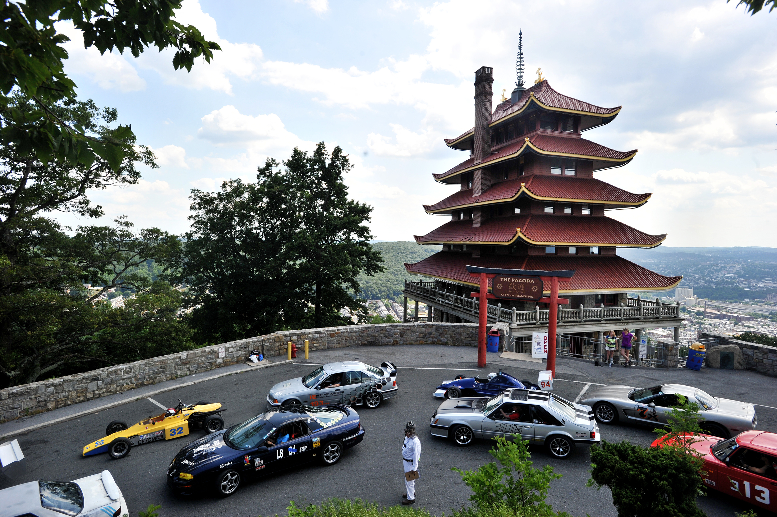 Racers wait to proceed back down the mountain at the Pagoda Hillclimb in Reading, PA, on June 25, 2016. (Reading Eagle: Sarah Stier)