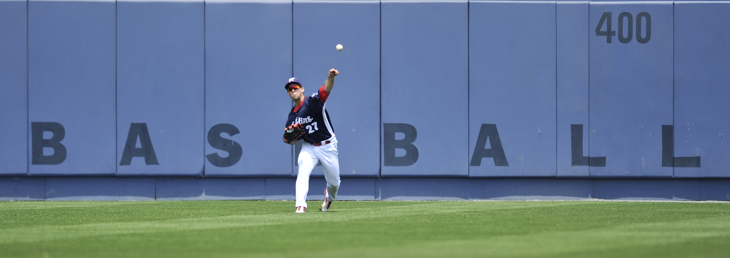 Aaron Brown throws the ball from the outfield during the Fightin' Phils baseball game against the Akron Rubberducks at FirstEnergy Stadium in Reading, PA, on June 23, 2016. (Reading Eagle: Sarah Stier)