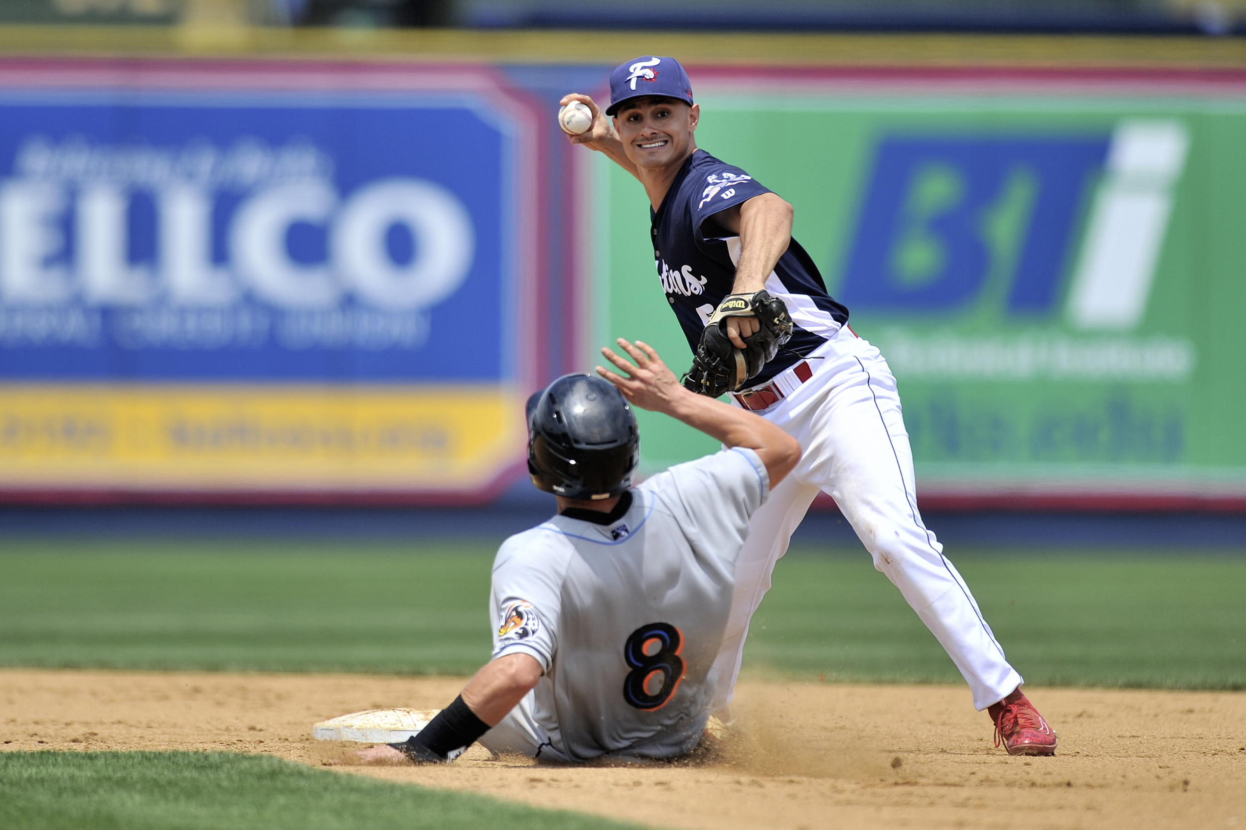 KC Serna helps make a double-play during the Fightin' Phils baseball game against the Akron Rubberducks at FirstEnergy Stadium in Reading, PA, on June 23, 2016. (Reading Eagle: Sarah Stier)
