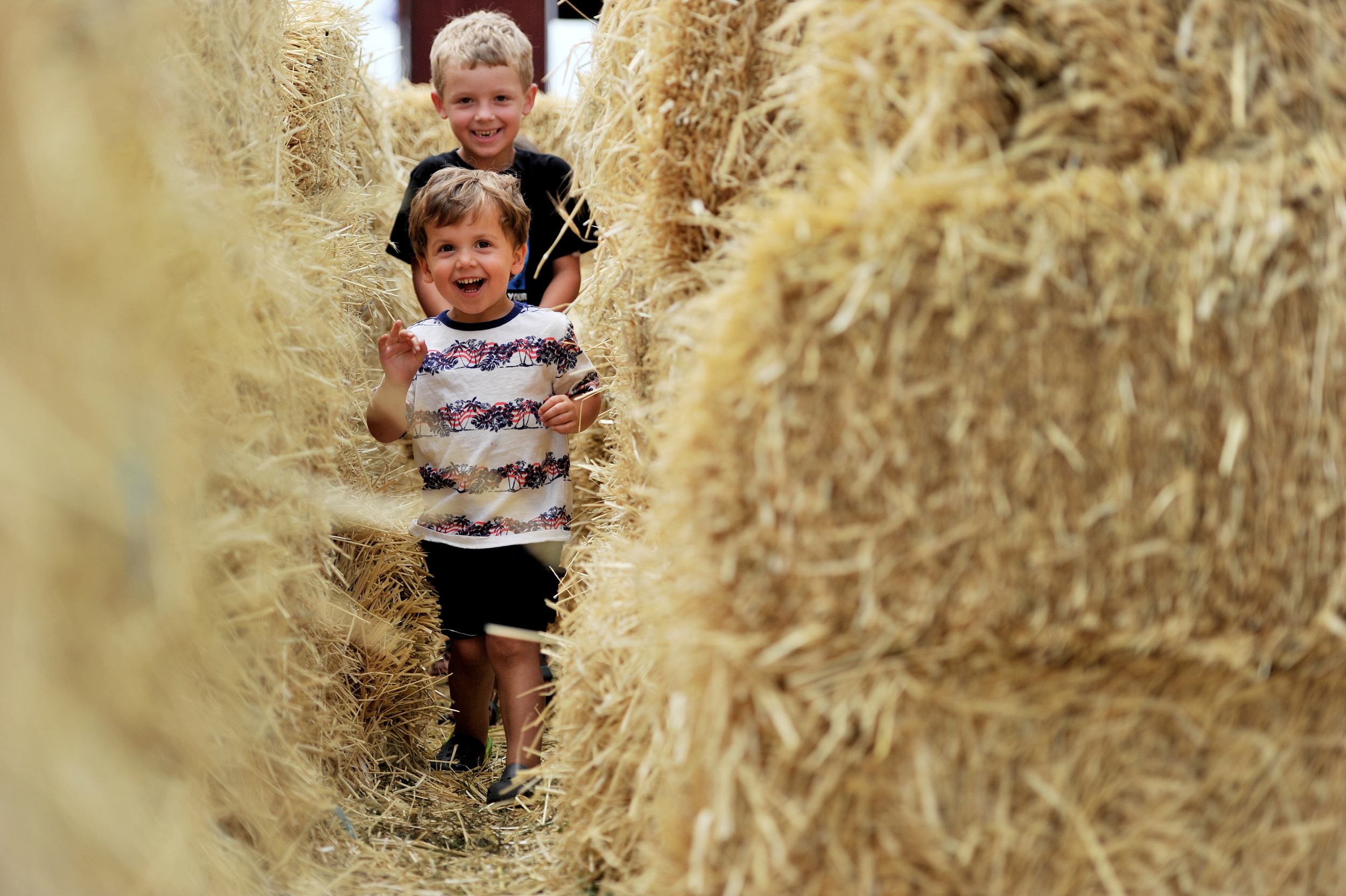 Jesse Rossignol (foreground), 2, of Elizabethtown, runs through the hay-bale maze with his brother Ryan, 6, at the Kutztown Folk Festival in Kutztown, PA, on July 2, 2016. (Reading Eagle: Sarah Stier)