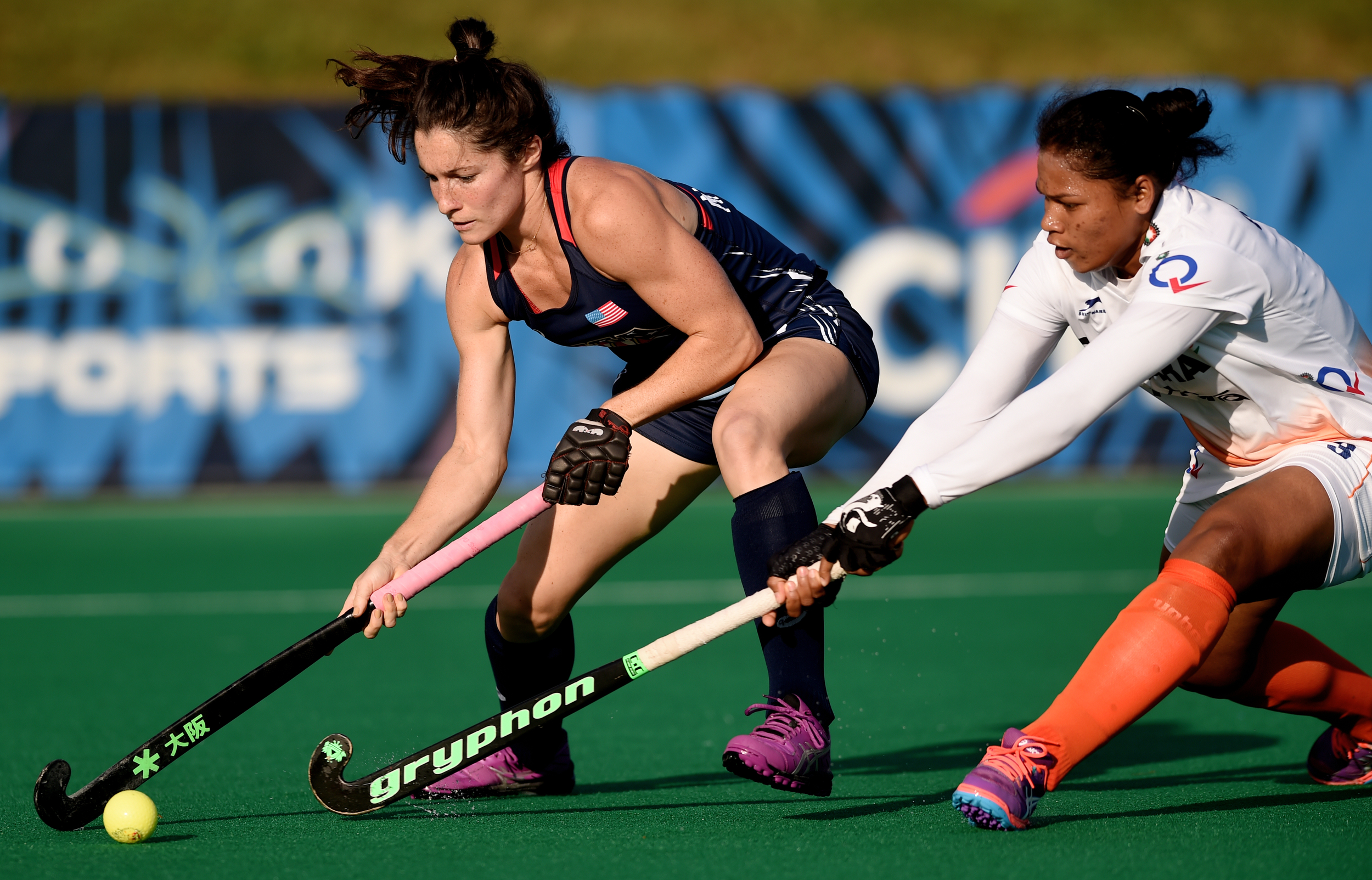 Michelle Vittese fights to keep the ball at the USA National Field Hockey Team's scrimmage against India at Spooky Nook in Manheim, PA, on July 20, 2016. (Reading Eagle: Sarah Stier)